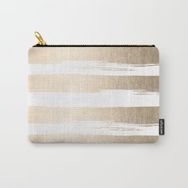 White Gold Sands Painted Thick Stripes Carry-All Pouch