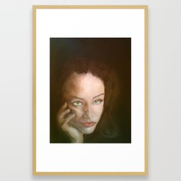 The Beautiful Brunette Stares Framed Art Print