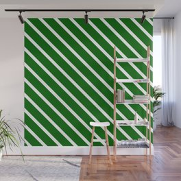 Christmas Green Diagonal Stripes Wall Mural