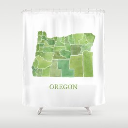 Oregon Counties watercolor map Shower Curtain