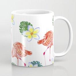 Patrones decorativos de flamencos y flores de acuarela Coffee Mug