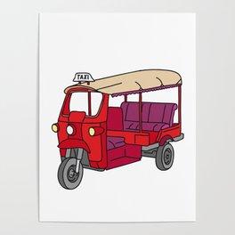 Red tuktuk / autorickshaw Poster