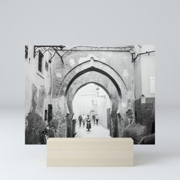 Black and white street photography | Medina of Marrakech | Travel photo print Mini Art Print
