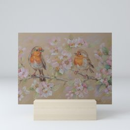 TWO BIRDS Wildlife spring scene Blossom and Red Robins Mini Art Print