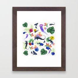 tropical shark pattern Framed Art Print