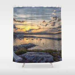 Sunset over Rockport Harbor 6-9-18 Shower Curtain