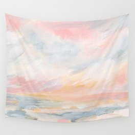 Winter Seascape - Pink Skies Wall Tapestry