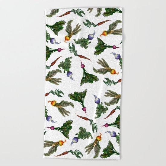 Watercolor Veggies Beach Towel