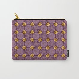 Retro Purple Yellow Polynesian Floral Mandala Carry-All Pouch