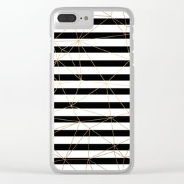 Gold Geometric Pattern Black and White Stripes Clear iPhone Case