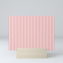 Mattress Ticking Narrow Striped Pattern in Red and White Mini Art Print
