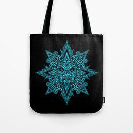Ancient Blue and Black Aztec Sun Mask Tote Bag