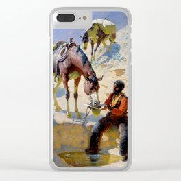 """William Leigh Western Art """"One Good Turn"""" Clear iPhone Case"""