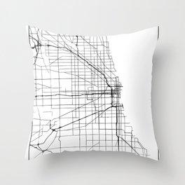 Minimal City Maps - Map Of Chicago, Illinois, United States Throw Pillow