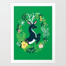 Festive Deer Art Print