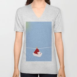 santa hat on clothesline Unisex V-Neck