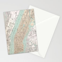 Vintage Map of New York City (1895) Stationery Cards