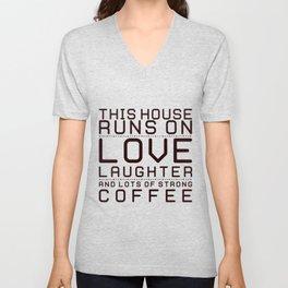 This House Runs on Coffee Block Unisex V-Neck