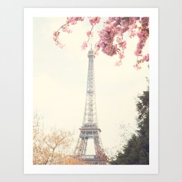 Paris at Spring, Eiffel tower and cherrie blossoms Art Print