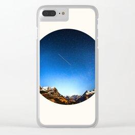 Mid Century Modern Round Circle Photo Minimalist Mountain Range Blue Sky Clear iPhone Case