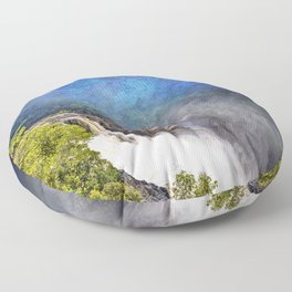 Wild waterfall in abstract Floor Pillow