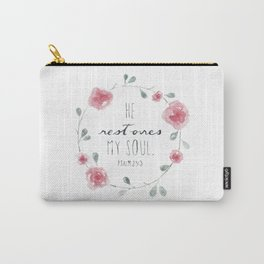 He Restores My Soul. Psalm 23:3, bible verse, watercolor flowers Carry-All Pouch