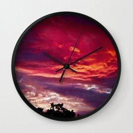 Brillant Wispy Sunset in Bird Island, MN Wall Clock