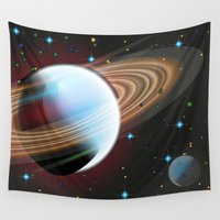 planets Wall Tapestries featuring Planets by Kaitlynn Marie