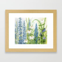 Watercolor Botanical Garden Flower Wildflower Blue Flower Garden Framed Art Print