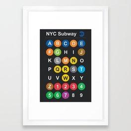 New York City subway alphabet map, NYC, lettering illustration, dark version, usa typography Framed Art Print