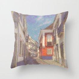 Portugal, a narrow street in Tavira Throw Pillow