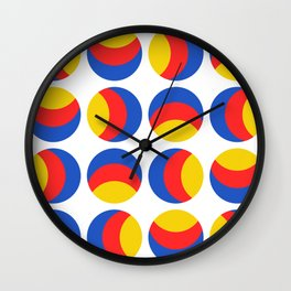 Primary colors. Simple retro spotty seamless pattern. Wall Clock