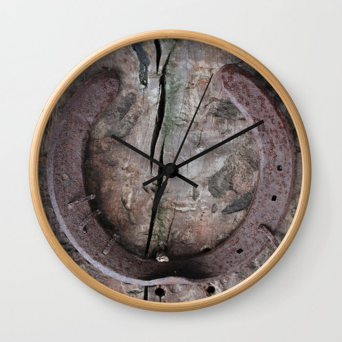 Rusted Horseshoe on Weathered Wood rustic decor Wall Clock