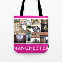 manchester Tote Bags featuring Manchester 2 by PiecesofEngland