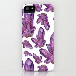 Amethyst Birthstone Watercolor Illustration iPhone Case