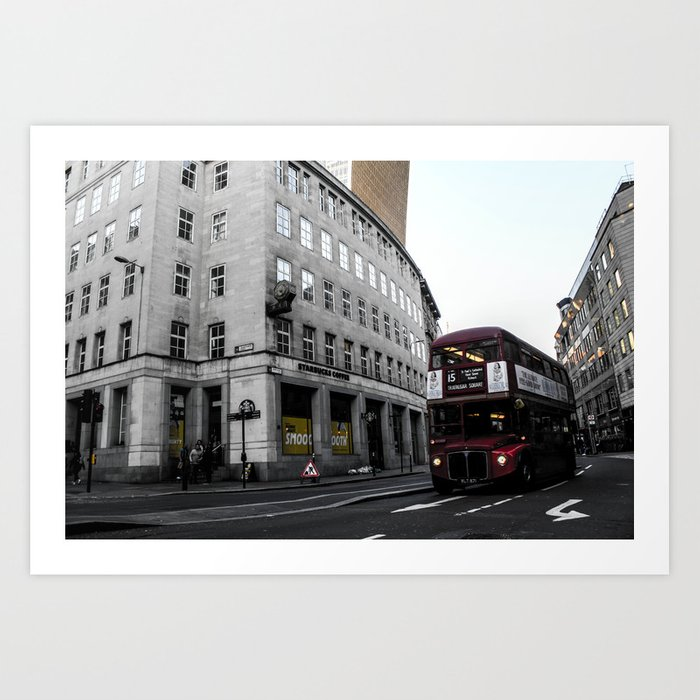 ArtWork London City Bus Black Colour Red Photo Art Art Print