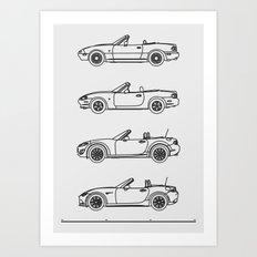 MX-5 Miata Evolution Art Print