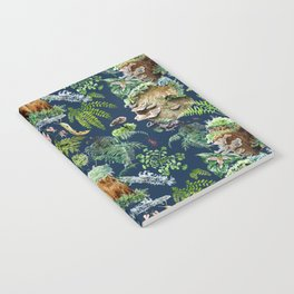 Mossy Forest Pattern Blue Notebook