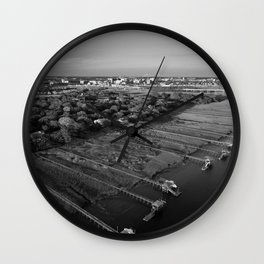 Charleston Marsh Black and White Wall Clock