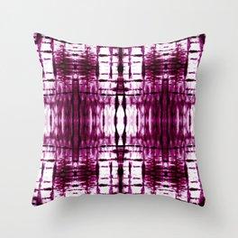 Black Cherry Plaid Shibori Throw Pillow