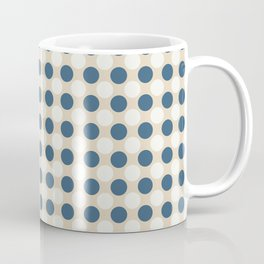 Dark Blue and Off White Uniform Large Polka Dots Pattern on Beige Matches Chinese Porcelain Blue Coffee Mug