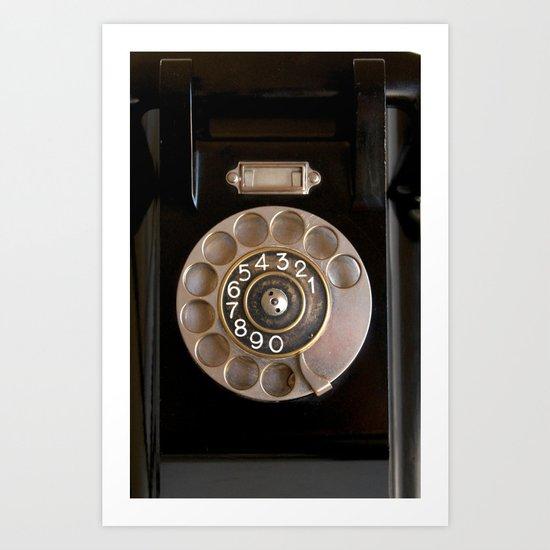 OLD BLACK PHONE Art Print