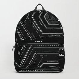 Detailed tribal geometry design, black and white geometric Backpack
