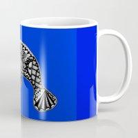 manatee Mugs featuring Blue Manatee by Casey Virata