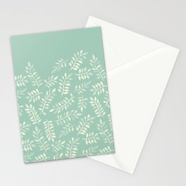 Painted Leaves - a pattern in cream on soft mint green Stationery Cards