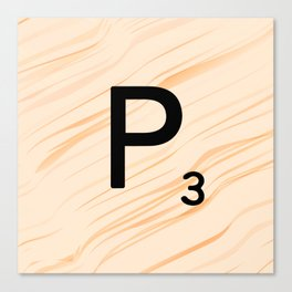 Scrabble Letter P - Large Scrabble Tiles Canvas Print