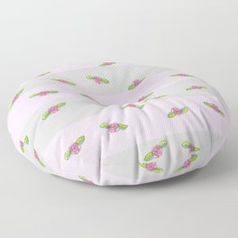 Roses on striped background Floor Pillow