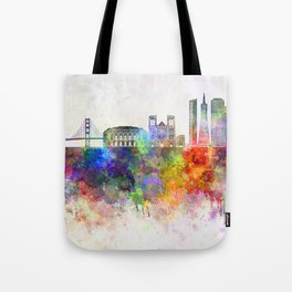 San Francisco skyline in watercolor background Tote Bag