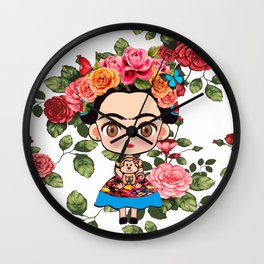Frida cartoon roses Wall Clock