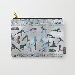 Yoga Asanas / Poses Sanskrit Word Art  Labradorite on pearl Carry-All Pouch